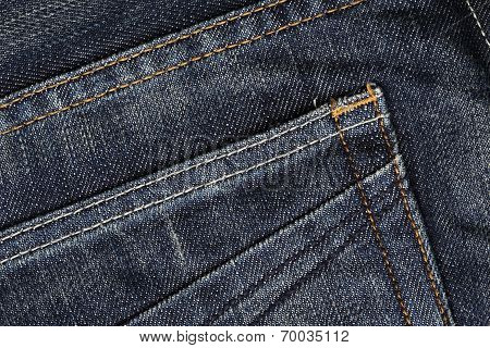 Close Up Of Blue Jeans Pocket Texture