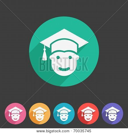 Student in graduation cap, flat icon