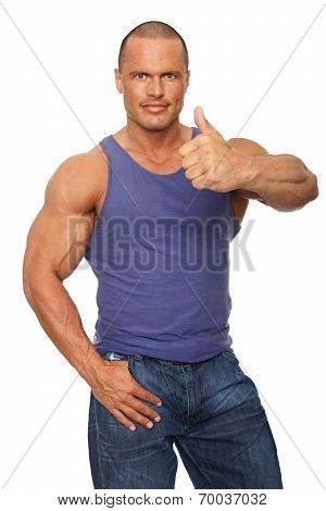 Muscular man in undershirt
