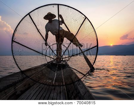 Fisherman In Inle Lake At Sunset, Inle, Shan State, Myanmar