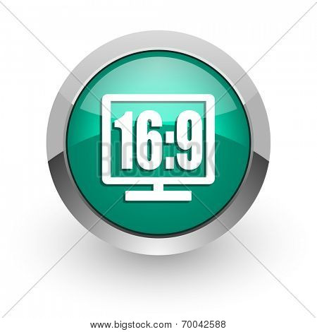 16 9 display green glossy web icon