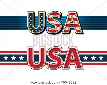 USA stylized lettering with ribbons. Vector format EPS 8, CMYK.