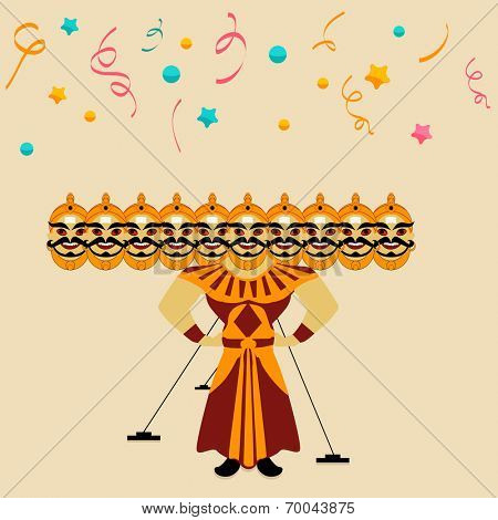 Illustration of a Ravana statue with his ten heads on colorful stars and ribbons decorated background for Happy Dussehra festival.