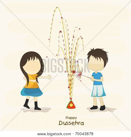 Illustration of young girs wearing yellow and blue clothes and celebrating Dussehra festival by playing with colourful crackers.