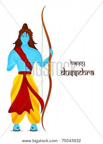 Blue illustration of Lord Rama holding his bow and giving blessing in white background with long hair and Dussehra text.