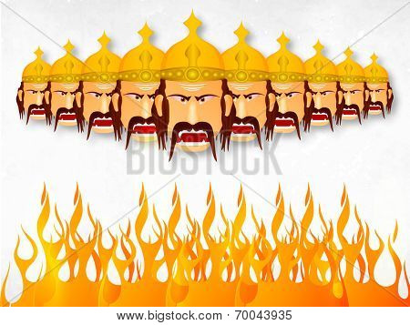 Illustration of angry Ravana with his ten heads wearing golden crown with fire on a whit and grey wintage background.