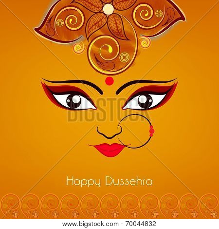 Illustration of Goddess Duraga beautiful face  with big eyes wearing nose ring with three red pearls on a flowrel decorated orange background.
