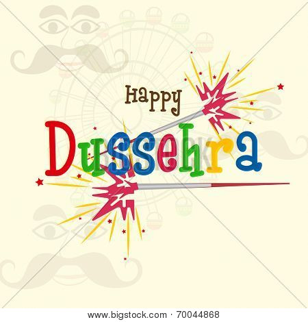Text of Happy Dussehra in comic colourful font with red and yellow crackers on a shadowed background with the image of funny faces and rounded colourful swing .