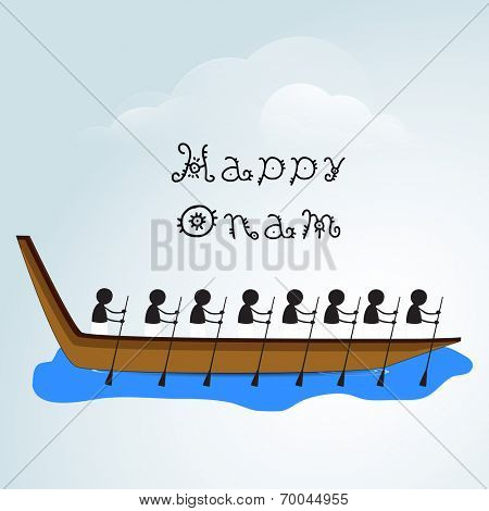Silhouette of South Indian people participating in snake boat racing on creative clouds background for Happy Onam Festival.
