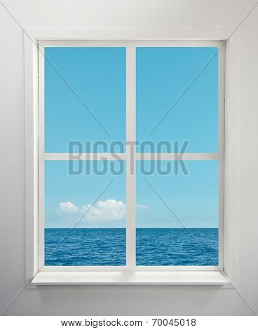 Modern residential window with sea view