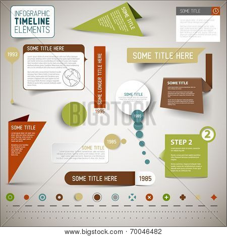 Vector infographic timeline elements / template - various retro colors