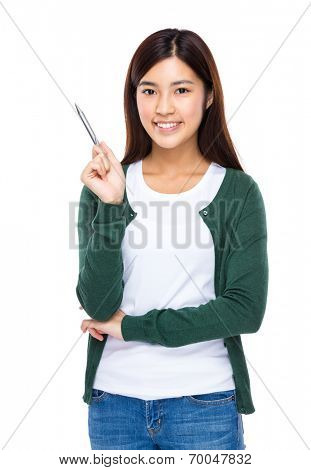 Young woman with sliver pen