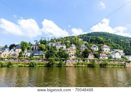 Neckar Valley With Reflection Of Heidelberg Houses At The River