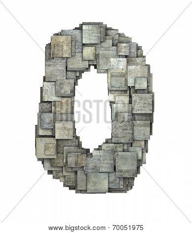 3D Gray Tile Zero Number Fragmented On White