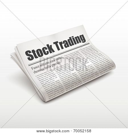 Stock Trading Words On Newspaper