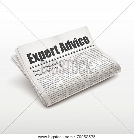 Expert Advice Words On Newspaper
