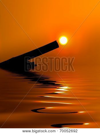 Sunset On The Prong Tree efection on water surface.