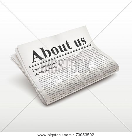 About Us Words On Newspaper