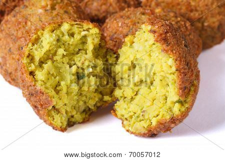 Whole And Half Falafel Isolated On White Macro