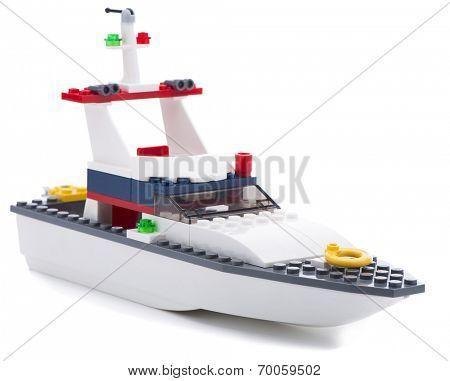 Ankara, Turkey - July 18, 2013: Studio shot of a Lego boat isolated on white background