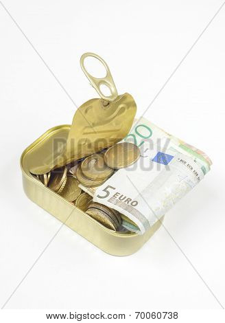 Fish Can Tin Filled With Coins And Banknotes