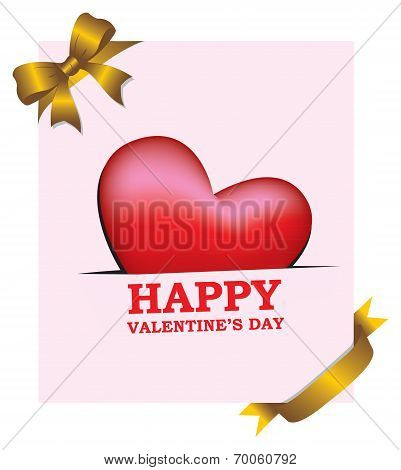 Valentines Day Greeting Card With Gold Ribbon Decoration