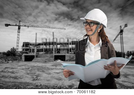 Women Construction, Architecture, Building And People Concept - Smiling Girl In Protective Helmet Wi
