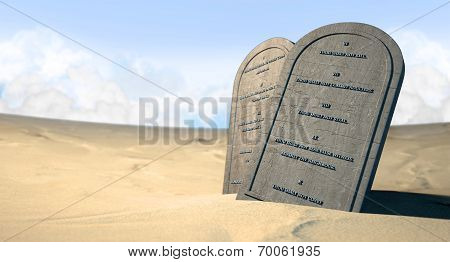 Ten Commandments Standing In The Desert