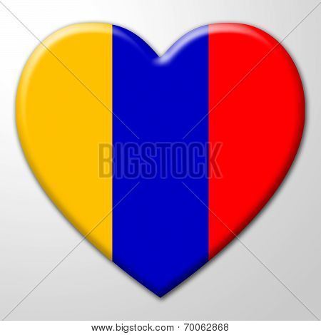 Columbia Heart Represents South America And Columbian