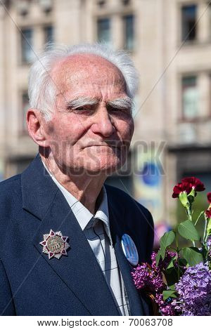 War Veteran In The Parade In Kiev, Ukraine