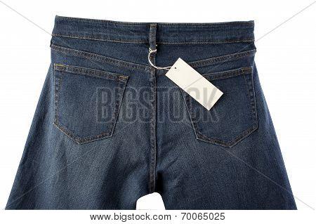 back side of dark blue jeans