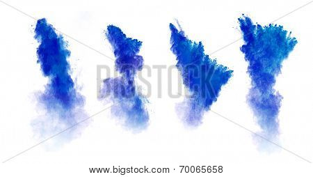 Freeze motion of blue dust explosion collection, isolated on white background