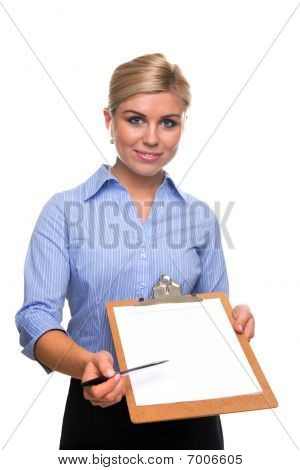 Woman Holding A Clipboard With Blank Paper Cut Out.
