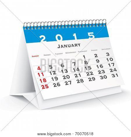 January 2015 desk calendar - vector illustration