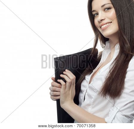 closeup portrait of attractive  caucasian smiling woman brunette isolated on white studio shot lips toothy smile face hair head and shoulders looking at camera document case businesswoman