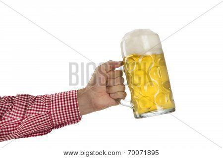 Man In Traditional Bavarian Shirt Holds Mug Of Beer