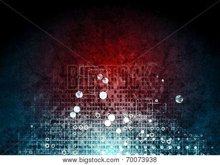 Grunge hi-tech red blue background. Vector design