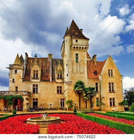 elegant medieval Castle of Milandes, Dordogne . France