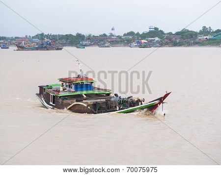 Cargo Vessel On Yangon River