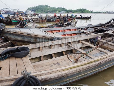 Boats At The Harbour Of Myeik, Myanmar