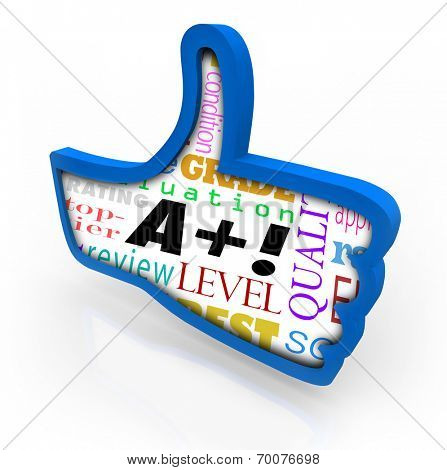A Plus words as perfect score or grade on a blue thumbs up sign or symbol