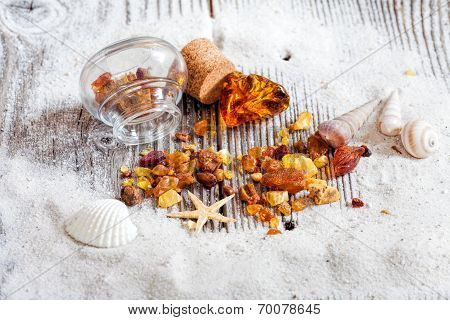 Background Of Amber And Seashells