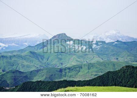 Snow Peaks Of Caucasus