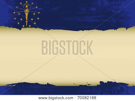 An indianan flag with a large frame for your message. Ideal to use for a screen