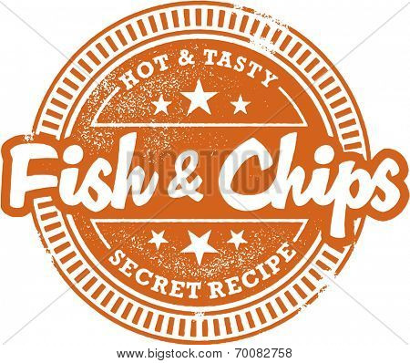 Fish and Chips Menu Design Stamp