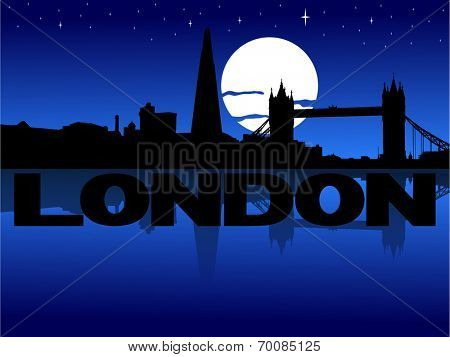 London skyline reflected with text and moon vector illustration