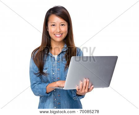 Singaporean woman use laptop computer computer