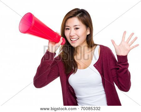 Asian girl yell with megaphone