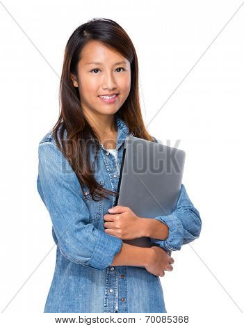 Singaporean woman with notebook computer