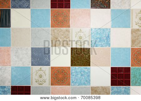 Background Of Mixed Up Wall Tiles